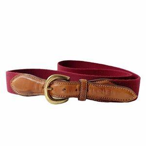 VTG Trafalgar burgundy web and leather belt 38